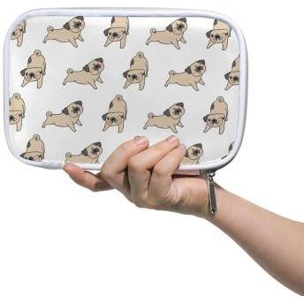 ZHIMI 化粧ポーチ メイクポーチ レディース コンパクト 化粧品収納バッグ 防水 柔らかい おしゃれ コスメケース 可愛い ワンちゃん 犬柄 機能的 軽量 小物入れ 出張 海外旅行グッズ パスポートケースとしても適用