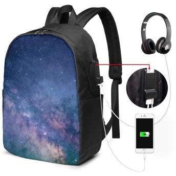 銀河 バッグ 17インチ USB充電ポート付き バックパック 調節可能なショルダーストラップ アウトドアリュック 登山リュック 季節新品 多機能 通学 通勤 出張 旅行用 大容量 黒 メンズ レディース通用