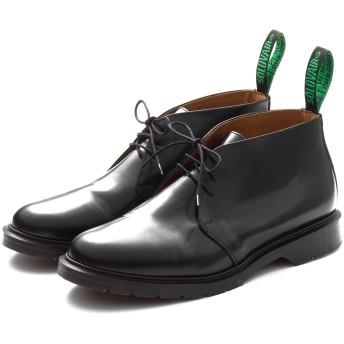 [ソロヴェアー] 靴 メンズ イギリス製 レザーシューズ 3EYE チャッカブーツ くつ シューズ 革 革靴 ビジネス ドクターマーチン (7, ブラック)