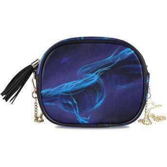 NIESIKKLA レディース チェーンバッグ、おしゃれ ミニ グ ショルダーバッグ シンプル 合わせやすい 多機能 結婚式 パーティーバッグ、動き輝く水中ドラゴンシャークディープ