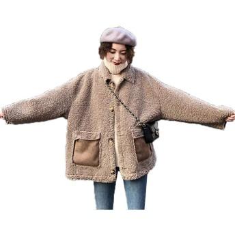 [ベィジャン] ボアジャケット ボアコート レディース フリースジャケット ゆったり あったか もこもこ かわいい 裏ボア アウター コート カジュアル ボアブルゾン ジャケット 保温性 秋冬 通勤 通学 (カーキ,XL)