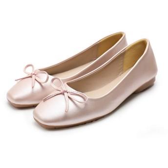 [ジョイジョイ] フラットシューズ レディース パンプス 柔らかい靴 カジュアル 婦人靴 蝶結び 大きいサイズ ローカット エナメル 美脚 つや感 小さいサイズ 通勤 走れる 軽量 ゴールド靴 黒 銀 入学式 疲れない