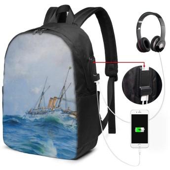 海の波 バッグ 17インチ USB充電ポート付き バックパック 調節可能なショルダーストラップ アウトドアリュック 登山リュック 季節新品 多機能 通学 通勤 出張 旅行用 大容量 黒 メンズ レディース通用