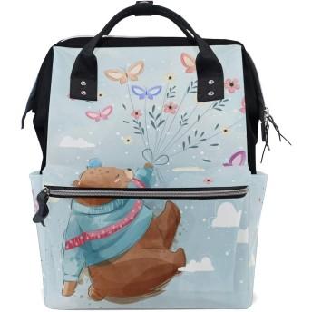 かわいい魔法の蝶の熊 旅行 バックパック 大おむつ オムツ バッグ ラップトップ バックパックレディース メンズ 用