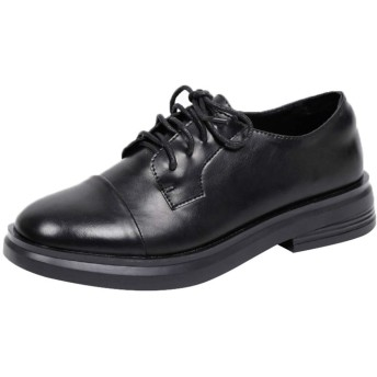 [NUOMK] レディース レースアップシューズ ヒール 黒 靴 マニッシュシューズ ブラック オックスフォード 厚底 ローファー レースアップ パンプス オックスフォードシューズ レトロ風 フラットシューズ 通学 通勤 女性 24.5cm 女の子