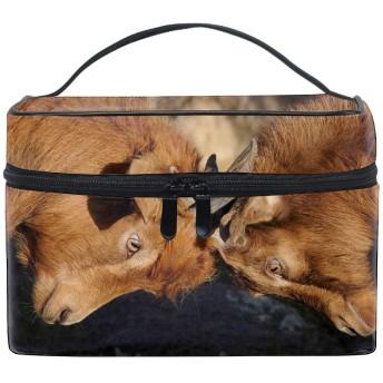 便携式やぎ メイクボックス 收納抜群 大容量 可愛い 化粧バッグ 旅行