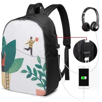 人 葉 自然 バッグ 17インチ USB充電ポート付き バックパック 調節可能なショルダーストラップ アウトドアリュック 登山リュック 季節新品 多機能 通学 通勤 出張 旅行用 大容量 黒 メンズ レディース通用