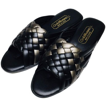 [GoldRoman] コンフォートサンダル レディース ヒール 軽量 ゴールドロマン サンダル ヘップサンダル 日本製 厚底サンダル 軽い 靴 つっかけ オフィスサンダル 女性 婦人(M【23.0-23.5】 ブラック【即納】)