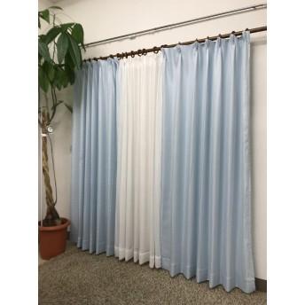 品番2657 4枚組カーテン (ブルー, 巾100cmx丈200cm 2枚組)