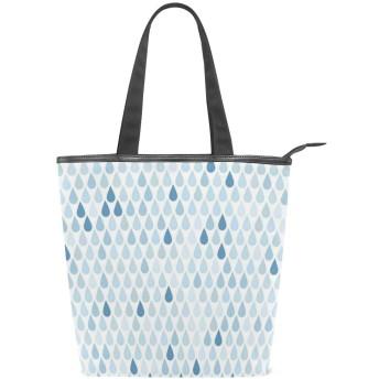 KENADVIトートバッグ 最高級 軽量 キャンバス レディース ハンドバッグ 通勤 通学 旅行バッグ、ブルーレインドロップスホワイトネイビープリント、スタイリッシュ グラフィックス 収納袋