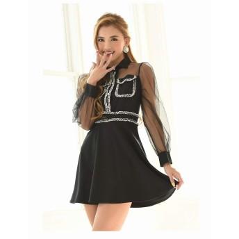 (リューユ)Ryuyu キャバ ドレス キャバドレス キャバクラ キャバワンピース パーティードレス RyuyuChick 襟付きツイード Aライン キャバドレス 505586 M(130) ブラック(100)