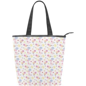 KENADVIトートバッグ 最高級 軽量 キャンバス レディース ハンドバッグ 通勤 通学 旅行バッグ、ビッグスポットドットロマンチックな10代の少女のパターン、スタイリッシュ グラフィックス 収納袋