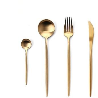 熱い販売ブルーゴールドカトラリーセットマットディナーウェアセットスプーンフォークとナイフ304ステンレス鋼銀器、金