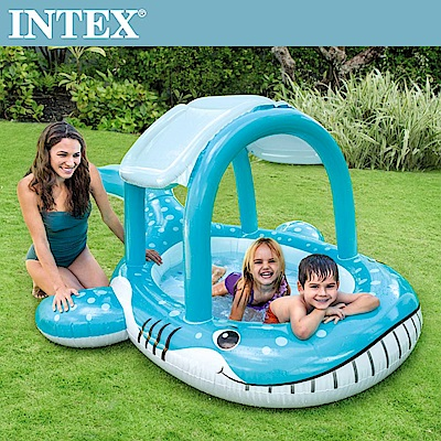 INTEX 鯨魚遮陽幼兒戲水池211x185x109cm