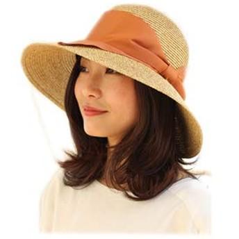 [ドリームハッツ] 帽子 レディース 折りたたみ 洗える 麦わら帽子 Mサイズ(57.5cm) ベージュミックス×オレンジ