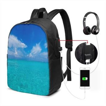 青いオーシャン 17インチ USB充電ポート付き 季節新品 通学 通勤 出張 旅行 多機能 メンズ レディース 大容量 黒 アウトドアリュック 登山リュック 調節可能なショルダーストラップ