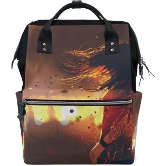 MIMUTI バックパック シーンの女性は彼女にひびの入った効果 男女兼用 通学 通勤 旅行 スポーツ バッグ