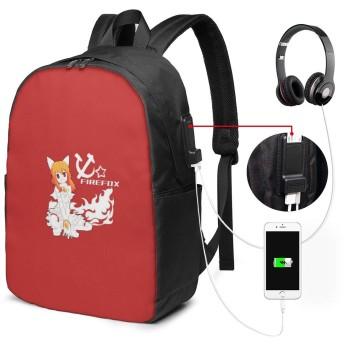 かわいいFirefox-Girl リュック バックパックリュックサック USB充電ポート付き イヤホン穴付き 大容量 PCバッグ レジャーバッグ 旅行カバン 登山リュック ビジネスリュック ユニセックス おしゃれ 人気