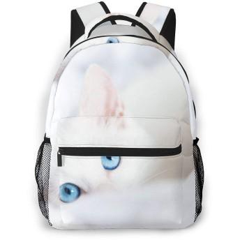 白いネコ柄 バックパック リュック キッズ 通学 遠足 旅行 多機能 大容量 収納