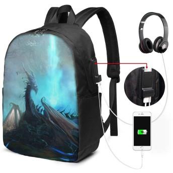 古代 恐竜 モンスター バッグ 17インチ USB充電ポート付き バックパック 調節可能なショルダーストラップ アウトドアリュック 登山リュック 季節新品 多機能 通学 通勤 出張 旅行用 大容量 黒 メンズ レディース通用