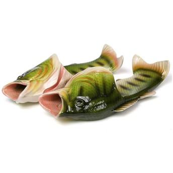 [Shuangyi] 魚 サンダル 面白い スリッパ メンズ レディース 3カラー (23cm-23.5cm, 緑)