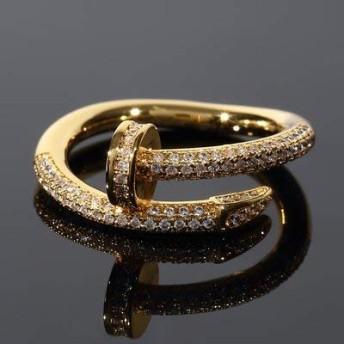 [Kronic Jewelry] ネイル Nail デザイナーズリング メンズ リング 18Kゴールド CZダイヤ(キュービックジルコニア) 16号(USサイズ8)