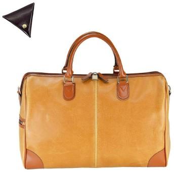 日本豊岡製 ANDY HAWARD ボストンバッグ 43cm 白化合皮 旅行鞄 と [BLANZAY 本革高級コインケース]のセット BH10426 10-キャメル