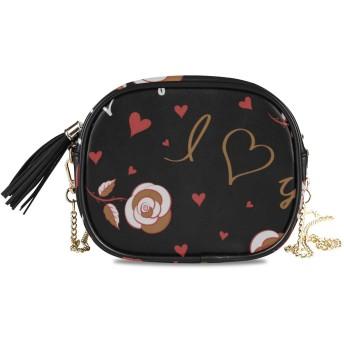 KAPANOU レディース チェーンバッグ,黒の背景にロマンチックな灰色の茶色と赤の色の落書きパターン,ミニファッションかわいいデザインショルダーバッグパーソナライズされたカスタムの異なるスタイルの色