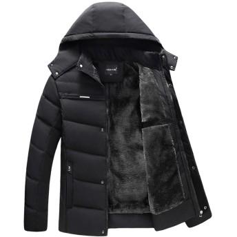 Chbavo メンズ 中綿 ジャケット 修身 綿服 保温 防寒着 防風 フード付き 裏ボア アウター あったか 厚手 冬服 裏起毛 黒 3XL