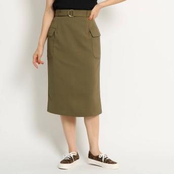 AG by aquagirl(エージーバイアクアガール)/【洗える/Lサイズあり】フラップポケット付リネン風タイトスカート