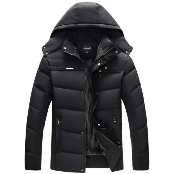 Thirteen one ブラック 4XL メンズ 綿 厚手 裏起毛 防寒コート防風ウィンドブレーカー綿長袖 コート ジャケットコート ジャケット ダウンジャケット 冬服