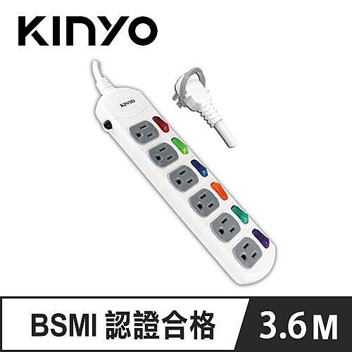 KINYO CG166-12 6開6插延長線 12呎 3.6M