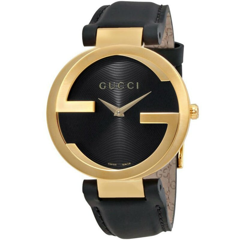 Gucci 古吉 YA133326 Interlocking系列 流行時尚黑金腕錶 /38mm