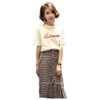 レディース 服 Tシャツ カットソー プリントTシャツファッション 女性 サイズ カラー ブラック ホワイト M,L 8132 (8132ホワイト, L)