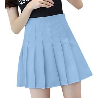 FENJZ ピンクのプリーツサテンスカート夏のハイウエストプリーツミニスカートの女性のファッションスリムウエストカジュアルテニススカートの学校休暇 (Color : Blue, Size : XL)