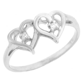 14KホワイトゴールドOverlapping Heartsダイヤモンド約束リング