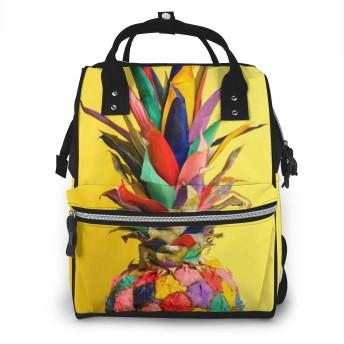 JINGwenhao パイナップル カラフル 黄色背景 マザーズバッグ マザーズリュック 軽量 大容量 多機能 防水 保温ポケット付き 掛けるベルト ベビー用品収納 リュック リュックサック バック
