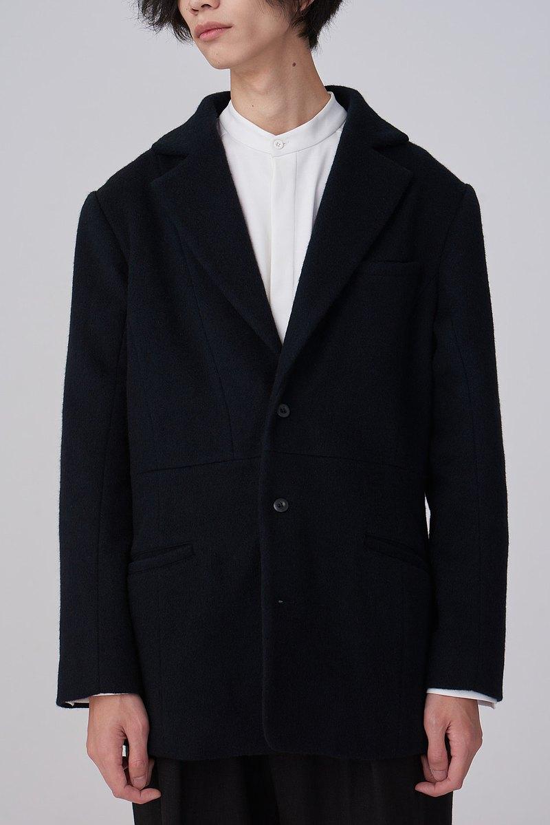 毛料剪裁西裝外套 - 泉復古西裝領秋冬男裝西裝夾克設計