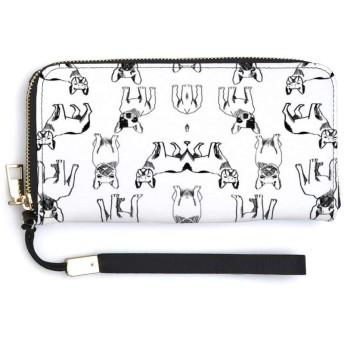 フランスのブルドッグ織物黒と白の犬織物女性財布PUロングウォレットクラッチクレジットカードケースポータブル小銭入れクラスメート友達ギフト