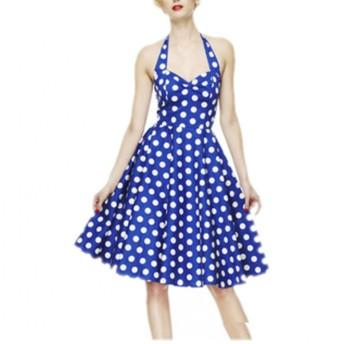ワンピース シック水玉柄 きれいめ 着痩せ ノースリーブ ホルターネック Aラインのスカート ドレス ワンピース 結婚式 パーティー サイズS~XL レッド ブルー ブラック (XL, ブルー)