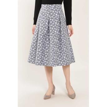 NATURAL BEAUTY フラワージャカードスカート ひざ丈スカート,グレー