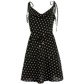 女性 ショートミニドレスVネックカジュアルスイングドレスノースリーブカクテルパーティーサンドレス (Dot Print, XL)