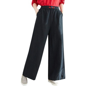 BeiBang(バイバン)ワイドパンツ レディース ガウチョパンツ ゆったり 綿 麻 ロングパンツ ウエストゴム ゆったり ボトムス 大きいサイズ 無地 ボトムス シンプル ファッション ズボン(12黒)