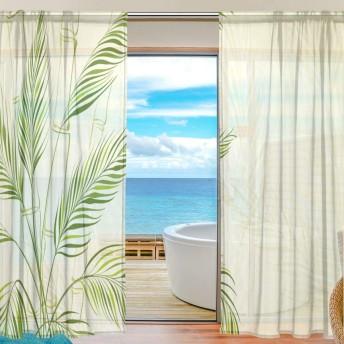 レースカーテン 葉柄 竹 おしゃれ 遮光 2枚組 出窓 ミラーレースカーテン 部屋飾り 薄い 目隠し 間仕切り ドアカーテン 透けない UVカット 幅140×200cm
