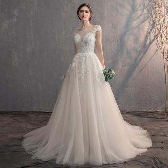 花嫁衣装 女性用シフォンワンワードカラー肩レースアップリケ半袖ウェディングドレス複数サイズ ウエディングドレス (Color : White, Size : XL)