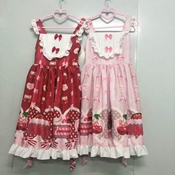 MengC かわいいロリータドレス日本のソフト姉妹ロリータかわいい桜 JSK ストラップドレス