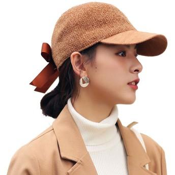 女性の野球帽春ファッション弓ソフト調整可能な野球帽屋外旅行太陽帽子