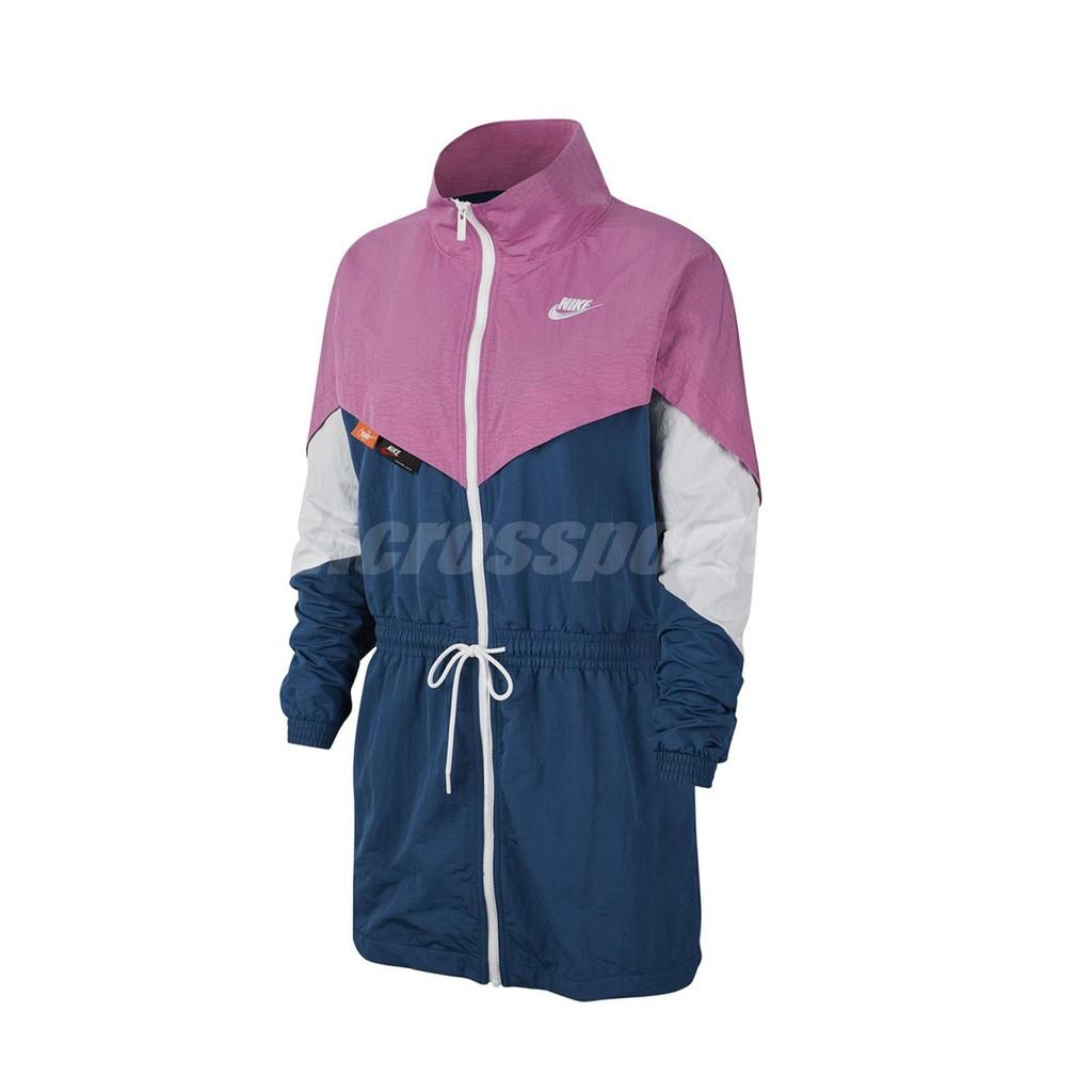 Nike 外套 Icon Woven Jacket 藍 粉紅 女款 長版風衣【ACS】 CJ2047-691