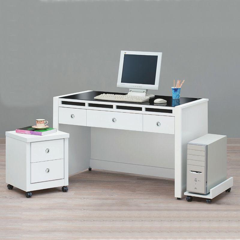【YA632-6】貝多美白色4尺書桌(全組)