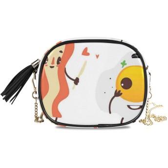 NIESIKKLA レディース チェーンバッグ、おしゃれ ミニ グ ショルダーバッグ シンプル 合わせやすい 多機能 結婚式 パーティーバッグ、サイドアップ揚げベーコンと卵笑顔朝食フィギュアの面白い漫画のキャラクター